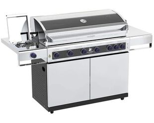 Deluxe Beefmaster 6 Burner BBQ on Deluxe Cart with Stainless Steel Side Burner