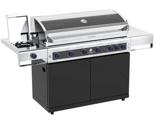 Deluxe Beefmaster 6 Burner BBQ on Classic Cart with Cast Iron Side Burner
