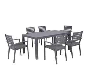 Boston-Jette 7 Piece Slatted Dining (Gunmetal Grey)