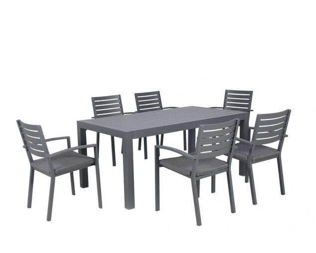 Boston-Jette 7 Piece Slatted Dining (Gunmetal Grey), , hi-res image number null