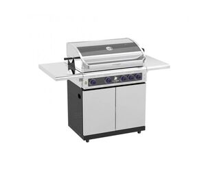 Deluxe Beefmaster 4 Burner BBQ on Deluxe Cart with Folding Shelves