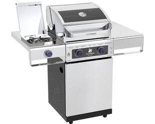 Deluxe Beefmaster 2 Burner BBQ on Deluxe Cart with Stainless Steel Side Burner