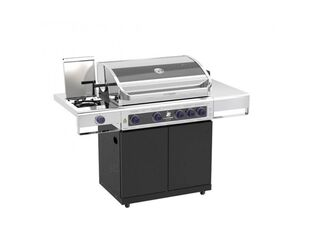 Deluxe Beefmaster 4 Burner BBQ on Classic Cart with Cast Iron Side Burner