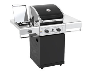Beefmaster Classic 2 Burner BBQ on Classic Cart with Cast Iron Side Burner