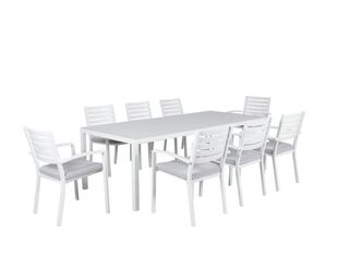 Boston 9 Piece Slatted Dining (White)