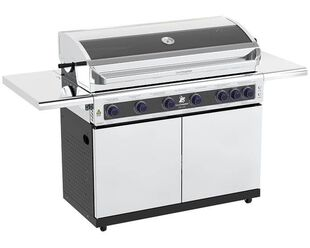 Deluxe Beefmaster 6 Burner BBQ on Deluxe Cart with Folding Shelves