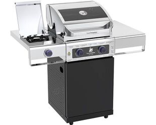 Deluxe Beefmaster 2 Burner BBQ on Classic Cart with Cast Iron Side Burner
