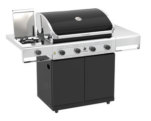 Beefmaster Classic 4 Burner BBQ on Classic Cart with Cast Iron Side Burner