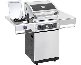 Deluxe Beefmaster 2 Burner BBQ on Deluxe Cart with Cast Iron Side Burner