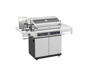 Deluxe Beefmaster 4 Burner BBQ on Deluxe Cart with Stainless Steel Side Burner