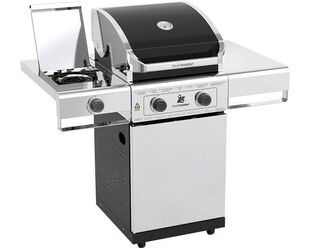 Beefmaster Classic 2 Burner BBQ on Deluxe Cart with Cast Iron Side Burner