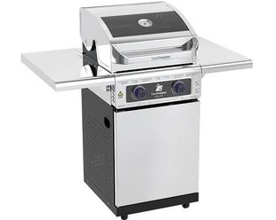 Deluxe Beefmaster 2 Burner BBQ on Deluxe Cart with Folding Shelves