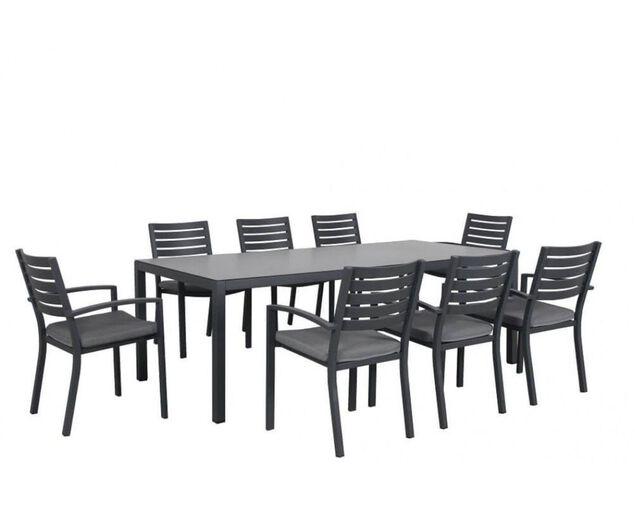 Boston 9 Piece Slatted Dining (Gunmetal Grey), , hi-res image number null