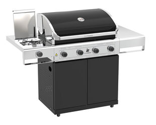 Beefmaster Classic 4 Burner BBQ on Cart with Stainless Steel Side Burner