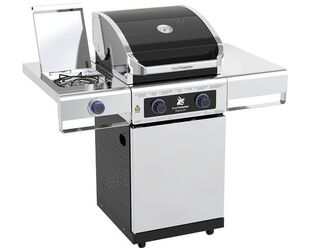 Premium Beefmaster 2 Burner BBQ on Deluxe Cart with Stainless Steel Side Burner