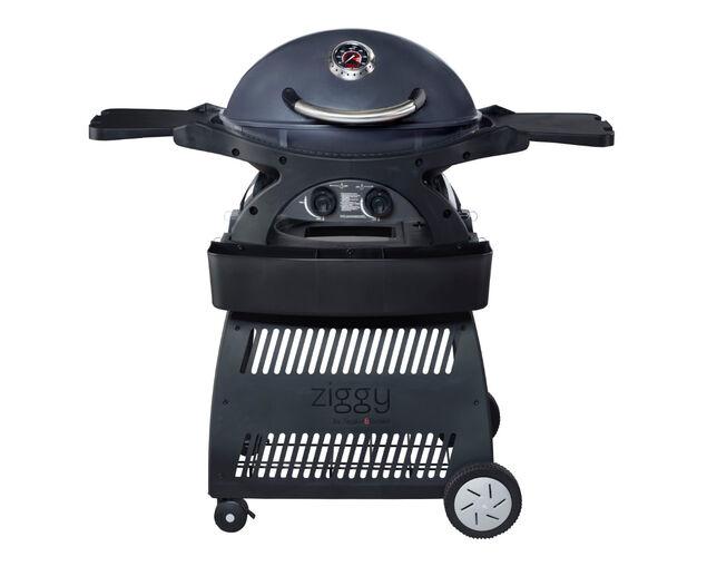 Ziggy by Ziegler & Brown Twin Grill LPG Classic on Cart (Gunmetal Grey), Gunmetal Grey, hi-res image number null