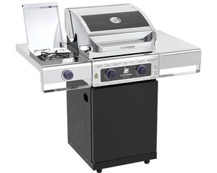 Deluxe Beefmaster 2 Burner BBQ on Classic Cart with Stainless Steel Side Burner