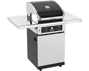 Premium Beefmaster 2 Burner BBQ on Deluxe Cart with Folding Shelves