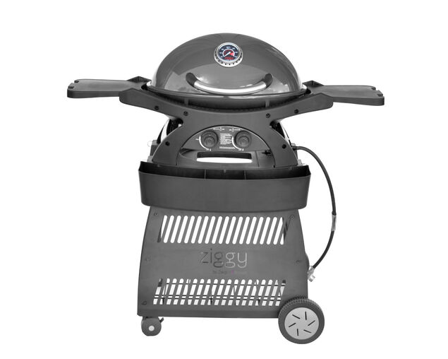 Ziggy by Ziegler & Brown Twin Grill Natural Gas Classic on Cart (Gunmetal Grey), Gunmetal Grey, hi-res image number null