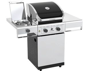 Beefmaster Classic 2 Burner BBQ on Deluxe Cart with Stainless Steel Side Burner