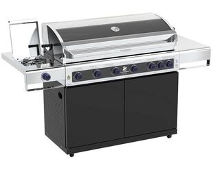 Deluxe Beefmaster 6 Burner BBQ on Classic Cart with Stainless Steel Side Burner