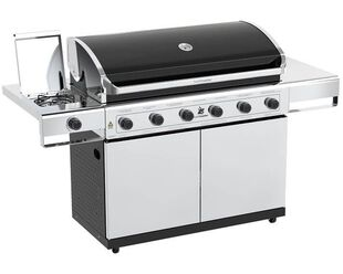 Beefmaster Classic 6 Burner BBQ on Deluxe Cart with Stainless Steel Side Burner