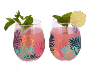Sunnylife Stemless Glasses 2 Pack - Electric Bloom