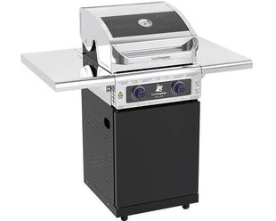 Deluxe Beefmaster 2 Burner BBQ on Classic Cart with Folding Shelves