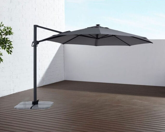 Rome 3.5m Octagonal Solar LED Cantilever Charcoal Umbrella, , hi-res image number null