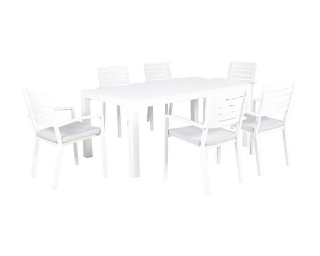 Boston-Jette 7 Piece Slatted Dining (White), , hi-res image number null