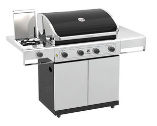 Beefmaster Classic 4 Burner BBQ on Deluxe Cart with Cast Iron Side Burner