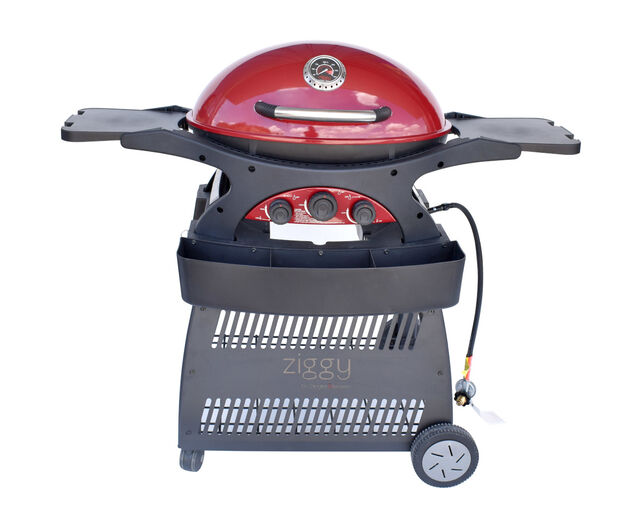 Ziggy by Ziegler & Brown Triple Grill LPG Classic on Cart (Chilli Red), Chilli Red, hi-res image number null