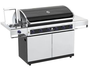 Premium Beefmaster 6 Burner BBQ on Deluxe Cart with Stainless Steel Side Burner
