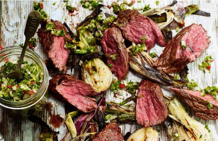 Grill Smoke BBQ'S Grilled Beef Bavette with Smoky Salad Onions